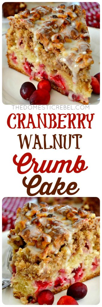 cranberry walnut crumb cake collage