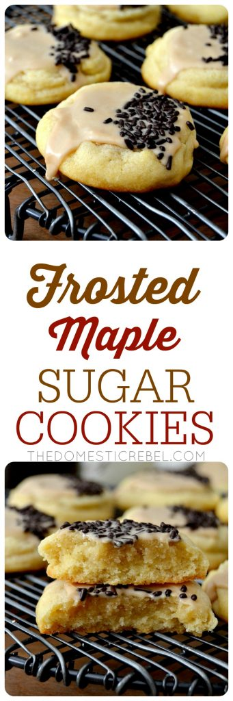 Frosted Maple Sugar Cookies are soft, buttery, tender cookies flavored with warm, sweet, aromatic maple flavors and iced with an irresistible maple icing! So easy to make and so flavorful!