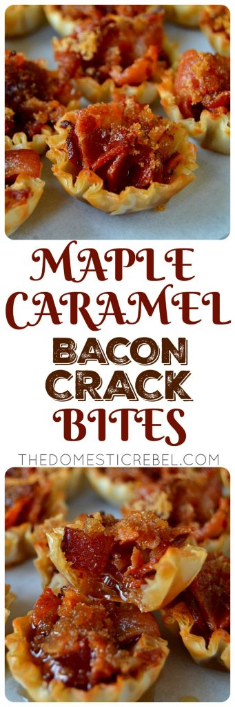 maple caramel bacon crack bites collage