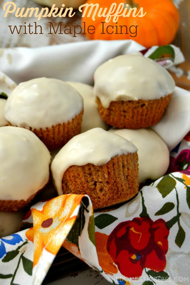 These Pumpkin Muffins with Maple Icing are such a cinch to make and no one will know they started from a box! Buttery, tender muffins packed with pumpkin spice flavor and topped with a creamy maple icing. Perfect for the holidays! #ad #krusteaz