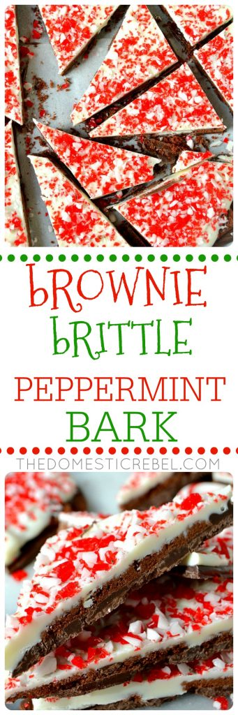 Brownie Brittle Peppermint Bark is a unique spin on classic bark candy! Dark chocolate, crisp brownie brittle pieces, white chocolate and lots of crunchy peppermint candies combine to make this EASY holiday favorite!