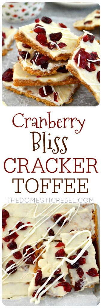 This Cranberry Bliss Cracker Toffee will be your new favorite holiday treat! Buttery, melt-in-your-mouth toffee made of club crackers and caramel, topped with creamy white chocolate and tart dried cranberries. Like Starbucks Cranberry Bliss Bars meets Christmas crack!