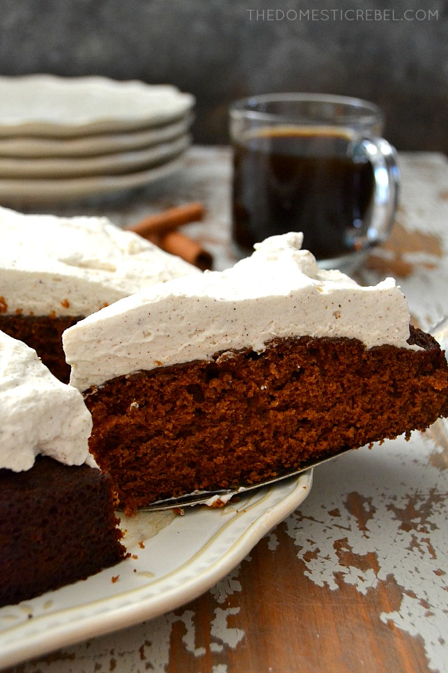 molasses cake slice on white plate and cake server with coffee in background