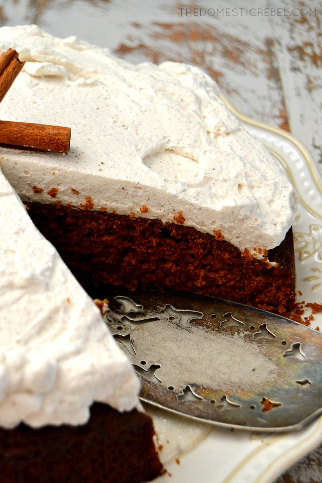 Gingerbread Molasses Cake with Chai Whipped Cream is a fantastic wintertime recipe! Warm, aromatic, moist cake flavored with molasses and spice flavors, topped with a chai whipped cream. Easy, flavorful, fabulous!