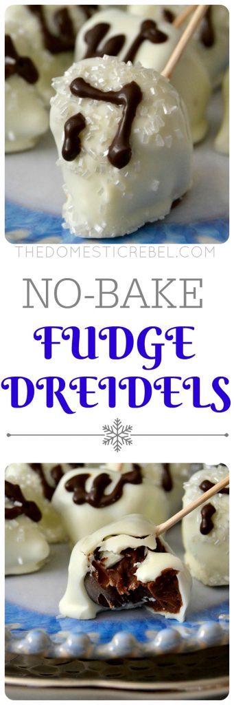 These No-Bake Fudge Dreidels are wonderful for Hanukkah! Chocolate fudge and Hershey Kisses combine to create these unique treats covered in creamy white chocolate and sprinkles. So easy and fun to make with kids!