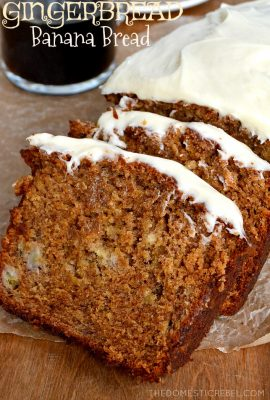 Gingerbread Banana Bread with Cream Cheese Icing