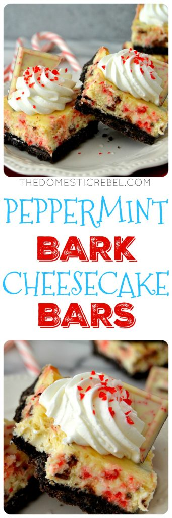 peppermint bark cheesecake bars collage