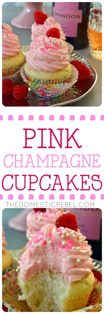 These PINK CHAMPAGNE CUPCAKES with PINK CHAMPAGNE BUTTERCREAM are perfect for any festive occasion! Moist, light and fluffy champagne cupcakes topped with a scrumptious champagne buttercream. Easy, impressive and taste like they came from a fancy bakery!