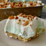 No-Bake Watergate Lush Dessert: pecan shortbread cookie crust, smooth & fluffy pistachio pudding, crushed pineapple, whipped cream and pecans combine to make this light, fluffy, EASY dessert!