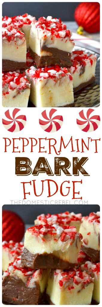 This Peppermint Bark Fudge is such a simple dessert to whip up during the holidays! Soft, chewy, creamy, melt-in-your-mouth chocolate and vanilla swirled fudge with crunchy peppermint bits on top. A must make for a holiday party or cookie tray!