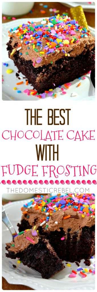 This truly is the BEST and most PERFECT Chocolate Cake with Fudge Frosting! So easy, impressive and quick to prepare. Fudgy, moist, fluffy cake with tender crumb and outrageous chocolate flavor topped with a homemade fudge frosting and sprinkles. Great for birthdays, holidays, or any occasion when you're craving chocolate!