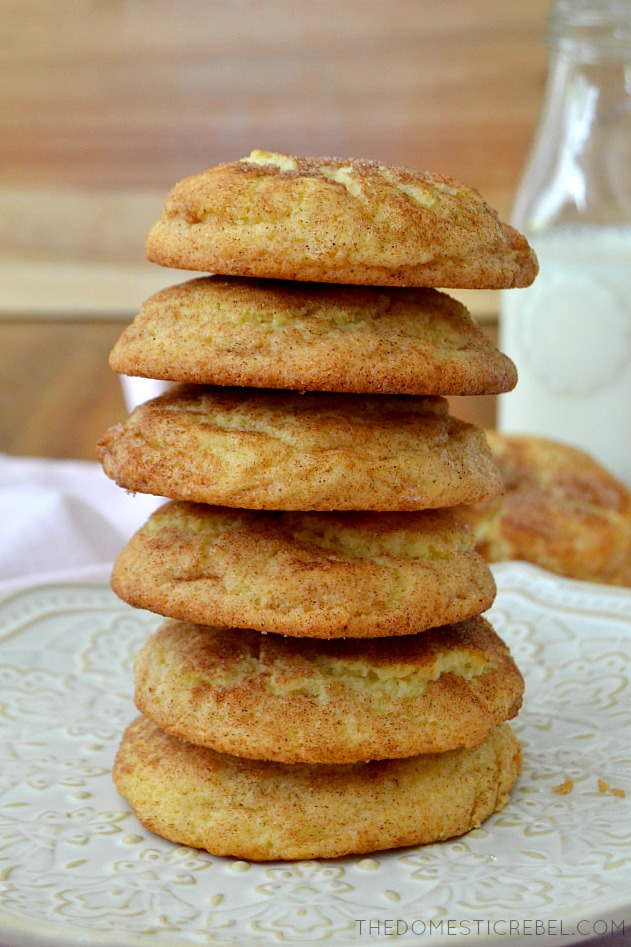 6 snickerdoodle cookies stacked on top of each other.
