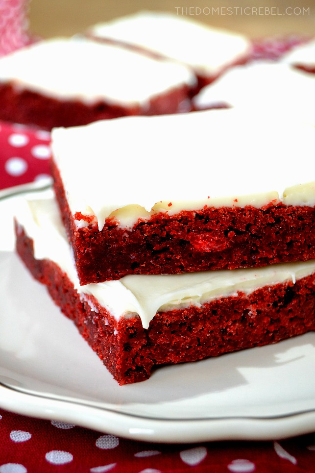Close up picture of two slices of red velvet brownies.