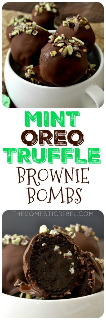 MINT OREO TRUFFLE BROWNIE BOMBS COLLAGE