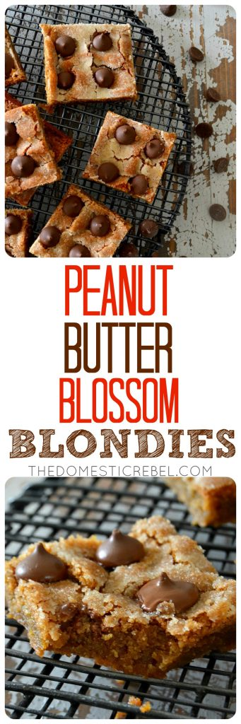 "Two photos featured in the recipe with the recipe title: ""Peanut Butter Blossom Blondies"""