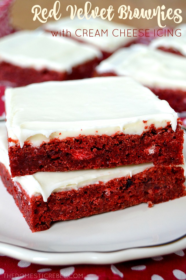2 slices of Red Velvet Brownies stacked on top of each other.