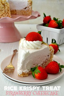 Rice Krispy Treat No-Bake Strawberry Cheesecake