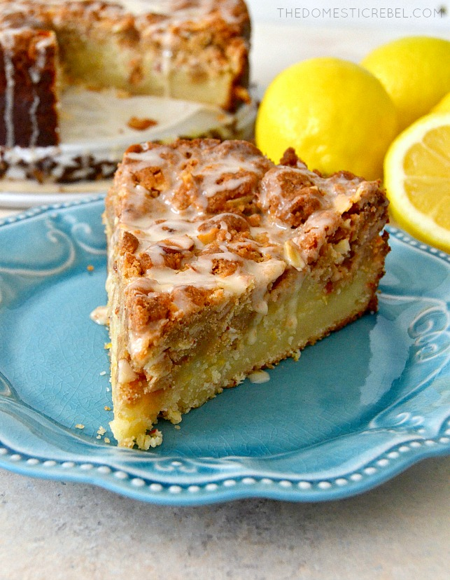 Lemon Almond Crumb Cake SLICE ON A BLUE PLATE.