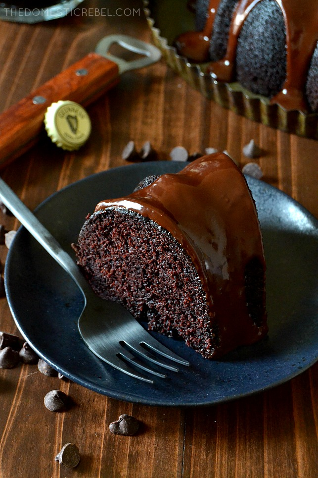 This Chocolate Guinness Stout Cake with Chocolate Ganache is one of the BEST cakes I've EVER made! Moist, fluffy, tender cake with a rich, complex and deep chocolate flavor thanks to the stout beer. The ganache glaze sets it over the top! Easy to make and even easier to eat! This cake is a real crowd-pleaser!