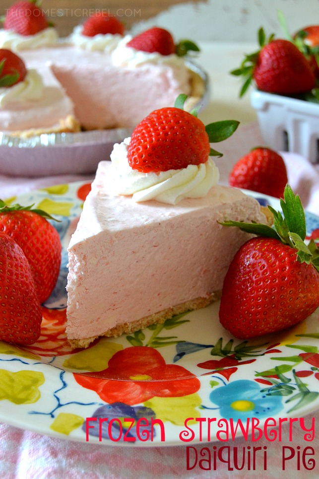 This Frozen No-Bake Strawberry Daiquiri Pie is so phenomenal! Creamy, smooth, dreamy, strawberry-flavored perfection made with frozen strawberry daiquiri mix. Only a few ingredients, so easy and tastes great frozen or chilled in the fridge.