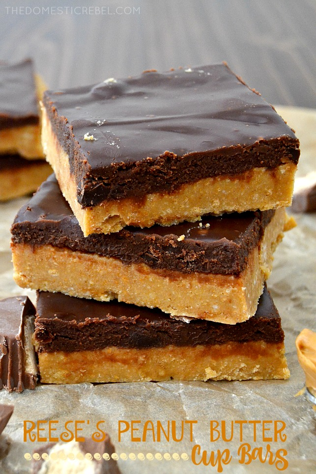 reese's PB cup bars stacked on parchment