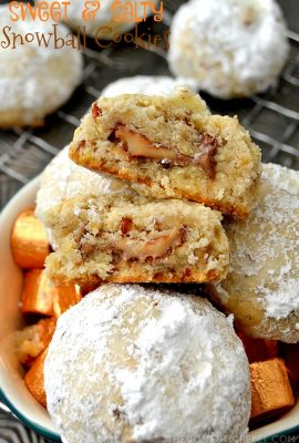 Sweet & Salty Potato Chip Caramel Snowball Cookies