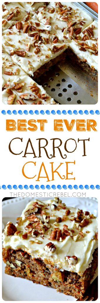 This truly is the BEST EVER Carrot Cake! Moist, fluffy, tender spiced cake filled with juicy pineapple, crunchy pecans, fresh carrots and aromatic spices, topped with an orange-spiked cream cheese icing. So perfect, a total crowd-pleasing, impressive cake!