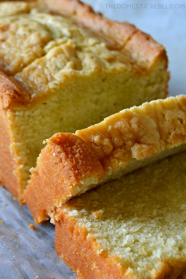 SLICED VANILLA BEAN POUND CAKE LOAF