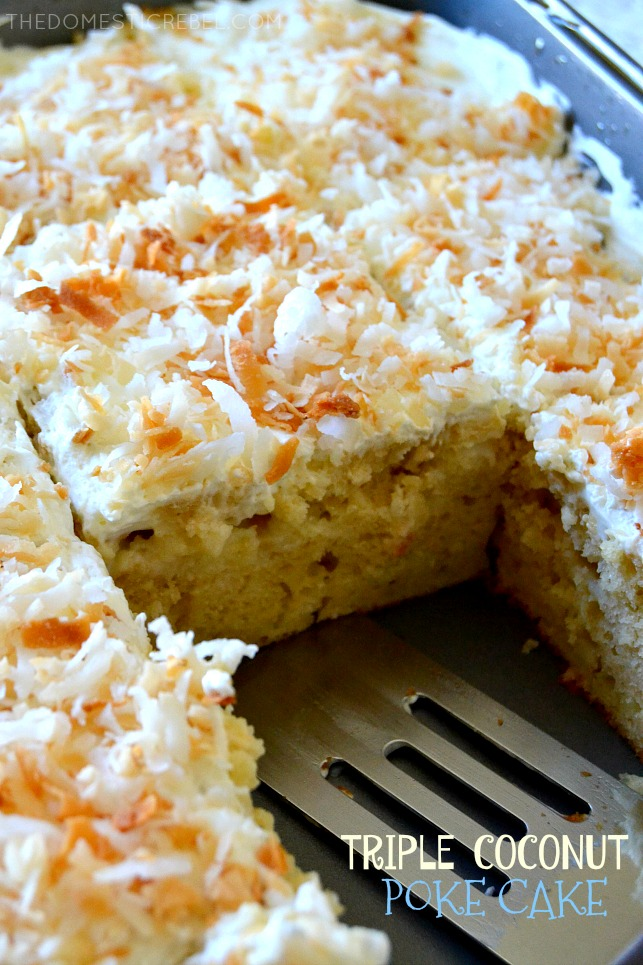 TRIPLE COCONUT POKE CAKE IN A PAN WITH ONE SLICE MISSING