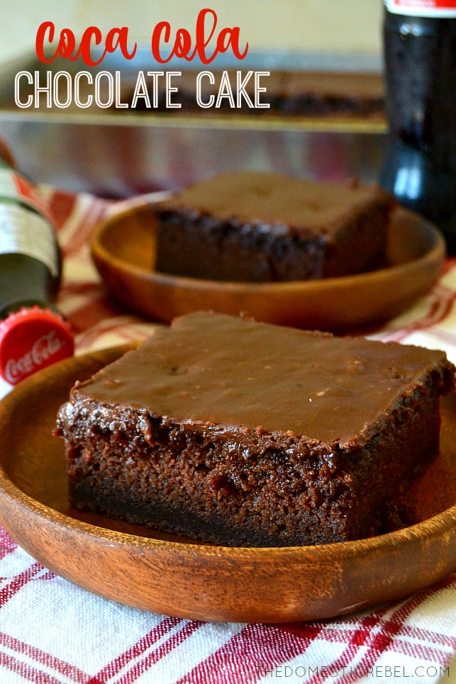 SLICE OF COCA COLA CHOCOLATE CAKE IN A BROWN DISH