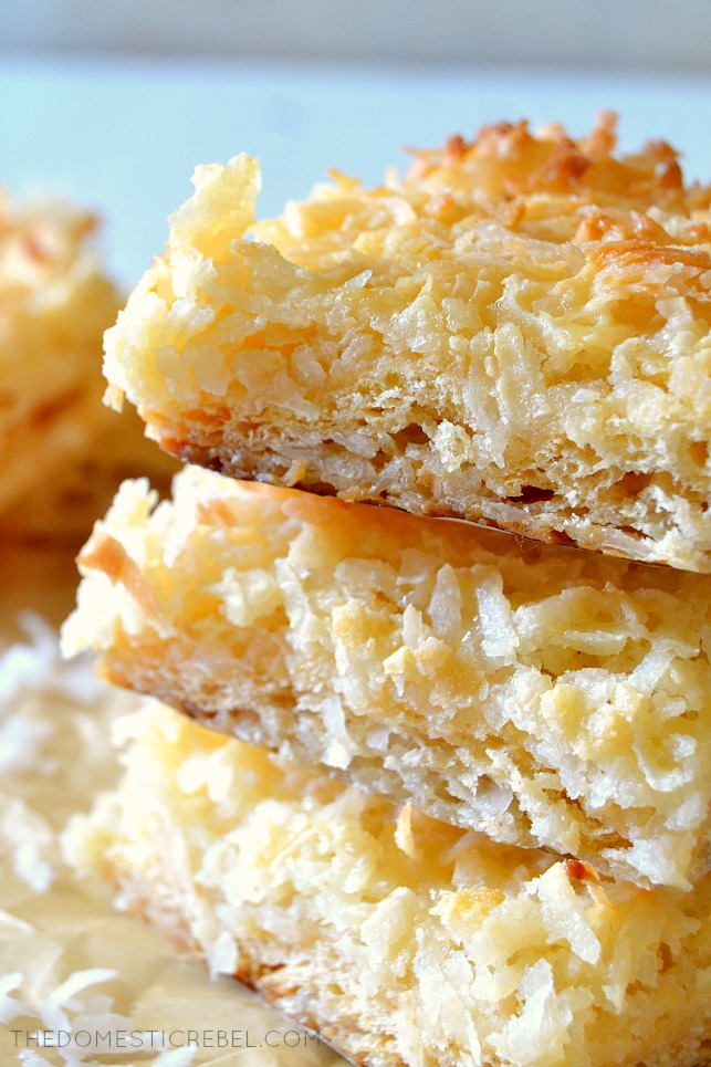CLOSE UP VIEW OF TEXTURE OF COCONUT BARS