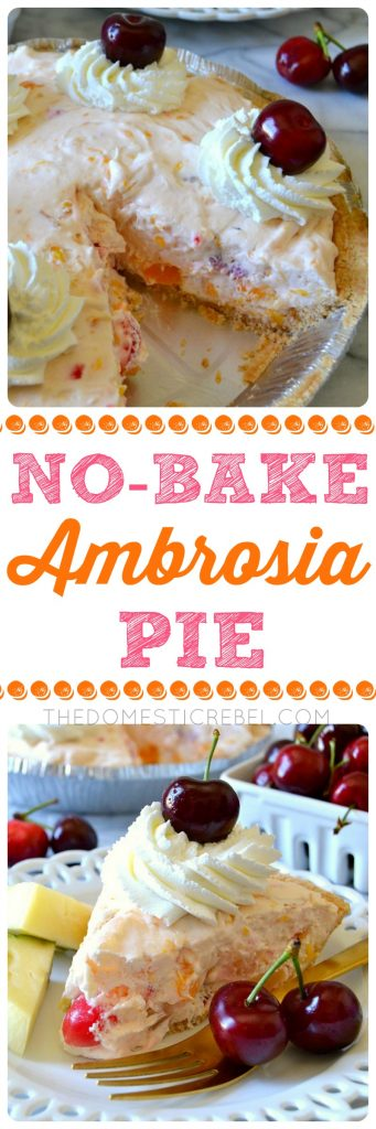 This NO-BAKE Ambrosia Cheesecake Pie combines all the classic flavors of ambrosia in one unique and EASY pie! Filled with fruit cocktail, pineapple, cherries, and mandarin oranges, it's topped with a marshmallow whipped cream. So simple and no-bake!