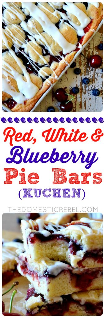 Red, White and Blueberry Pie Bars: similar to kuchen, these cake-like pie bars are swirled with cherry and blueberry pie filling and drizzled with a lemony glaze. So easy, feeds a crowd and makes a big batch, and perfect for summertime festivities!