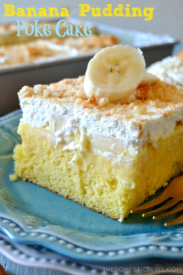 banana pudding poke cake on blue plates with fork