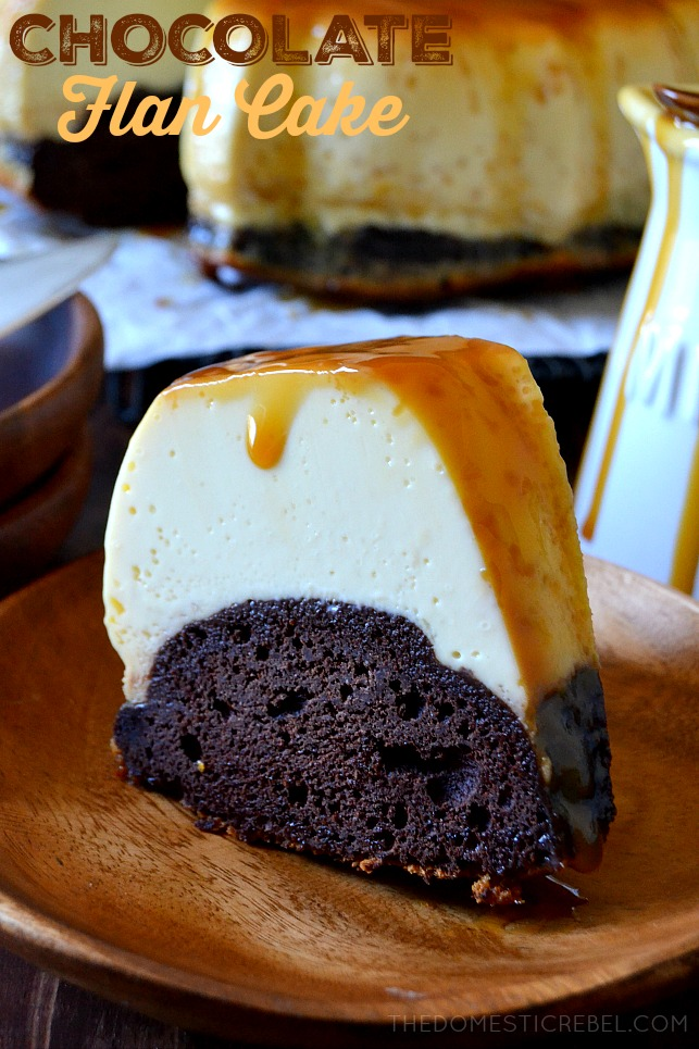 This Easy Homemade Chocolate Flan Cake combines flan and cake into one unique dessert mashup! A rich, moist chocolate cake bottom with a silky smooth, vanilla custard-like flan topping smothered with caramel sauce. A perfect, impressive dessert for any time!
