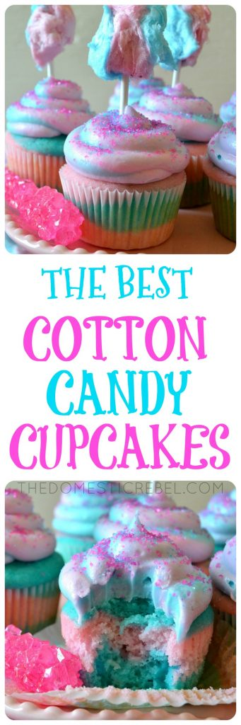 These Cotton Candy Cupcakes are so delicious and the BEST I've tried! Moist and fluffy cotton candy-flavored cupcakes topped with a swirl of pastel cotton candy buttercream and fluffy cotton candy pop! Perfect for any occasion such as kids parties, bake sales, and more, and SO EASY!