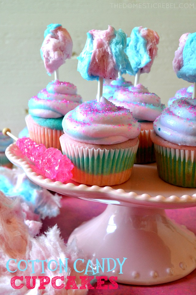 COTTON CANDY CUPCAKES ARRANGED ON A CAKE STAND