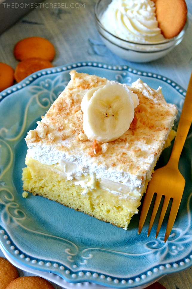 AERIAL VIEW OF A SLICE OF BANANA PUDDING POKE CAKE