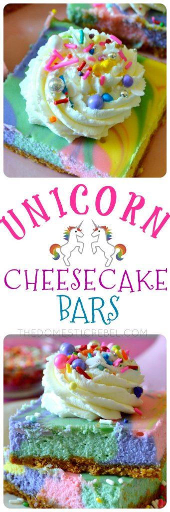 UNICORN CHEESECAKE BARS COLLAGE