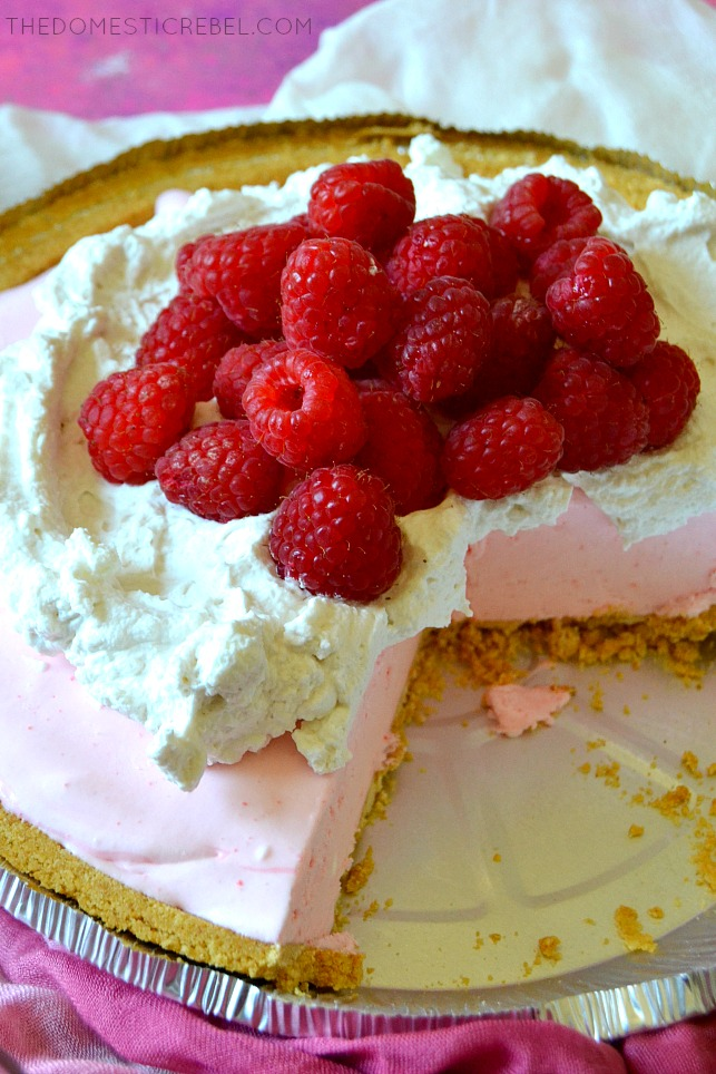 Introducing Frozen Rosé Pie (AKA, Frosé Pie!). A cool and creamy no-bake pie with an ice cream-like texture and a robust, juicy, rosé wine flavor because it's made with real rosé and Chambord liqueur! Easy, impressive and perfect!