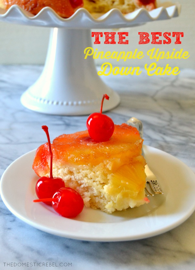 SLICE OF PINEAPPLE UPSIDE DOWN CAKE ON A WHITE PLATE
