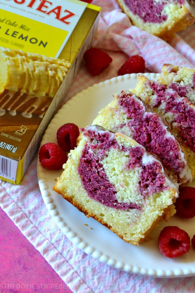 This Raspberry Lemonade Pound Cake is so tender and moist - bursting with juicy, zesty lemon flavor and swirls of tart raspberry ribbons! #ad #krusteaz