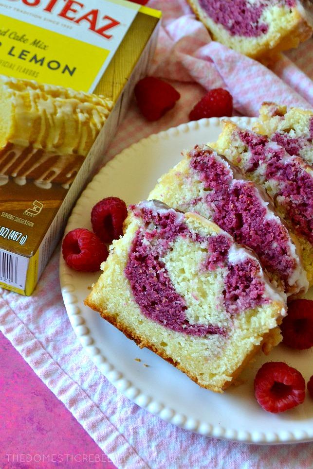 FOUR SLICES OF POUND CAKE NEXT TO A BOX OF KRUSTEAZ MIX