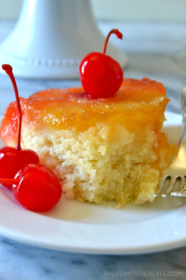 SLICE OF PINEAPPLE UPSIDE DOWN WITH A BITE MISSING