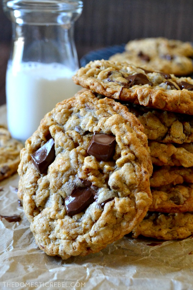 7 OATMEAL CHOCOLATE CHIP COOKIES STACKED
