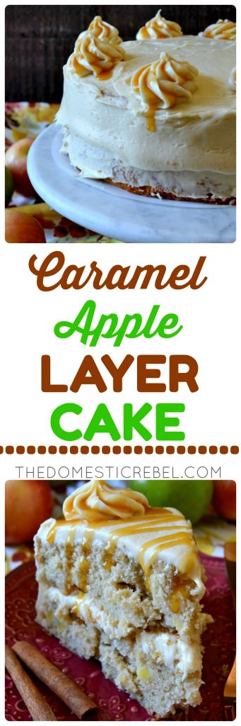 caramel apple layer cake collage