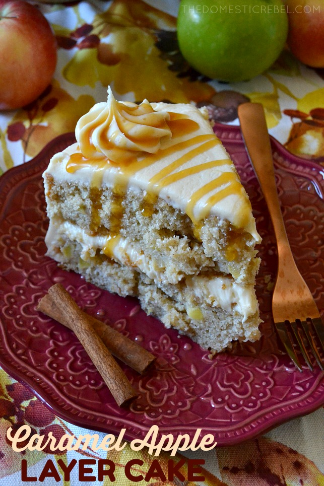 Super flavorful Caramel Apple Layer Cake is easy and impressive! Two layers of moist, tender apple spice cake covered in a heavenly cream cheese caramel frosting. A gorgeous cake that tastes even better than it looks!