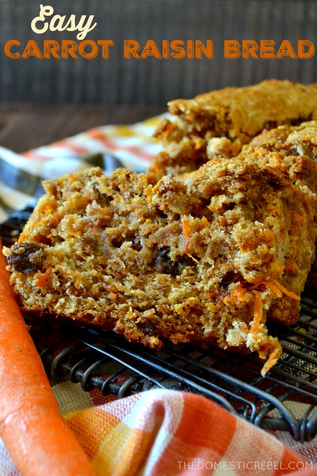 This Easy Carrot Raisin Bread is simple thanks to one secret ingredient: pancake mix! No one will know this bread came together with Krusteaz Buttermilk Protein Pancake Mix. Perfect for fall, it's a total favorite! #krusteaz #ad
