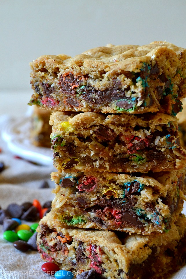 four monster cookie bars stacked