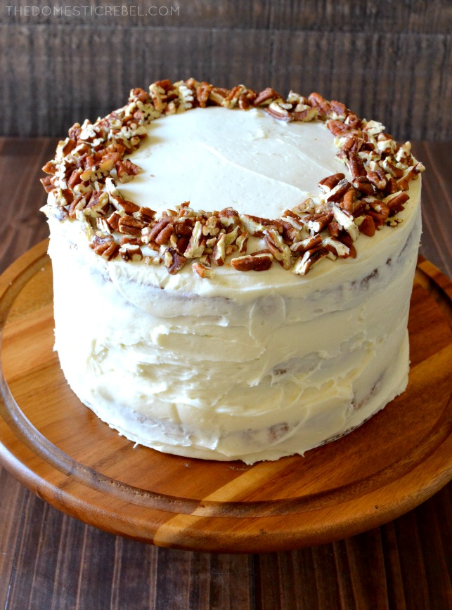 This Butter Pecan Layer Cake is as tasty as it is pretty! Three towering layers of moist buttery, toasted pecan cake with a delicious cream cheese frosting. Easy, impressive and SCRUMPTIOUS!